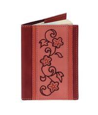 Обложка на паспорт Цветочный орнамент, бордо