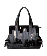 Кожаная сумка №5 черная, Ночной город