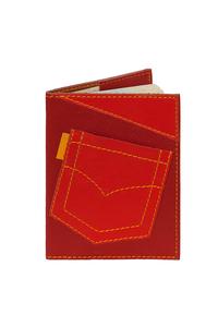 Кожаная обложка на паспорт №1 красная, Джинсовый карман