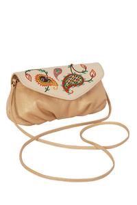 Фото 1 Кожаная женская сумка №34, Пейсли, бежевый перламутр в интернет-магазине Unique U