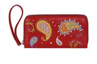 Фото 1 Кожаный женский  кошелёк 2 Пейсли, красный в Интернет-магазине UNIQUE U