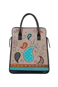 Фото 1 Кожаная женская сумка №3, Пейсли серая в Интернет-магазине UNIQUE U
