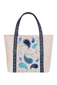 Фото 1 Кожаная женская сумка №42, Пейсли, серая в Интернет-магазине UNIQUE U