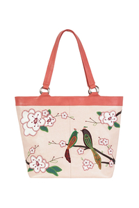 Фото 1 Кожаная женская сумка №46 Японские птички, розовый перламутр в интернет-магазине Unique U дизайнера Елены Юдкевич