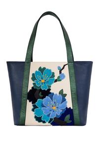 Фото 1 Кожаная женская сумка №42 Императорская сакура, синяя в интернет-магазине Unique U дизайнера Елены Юдкевич