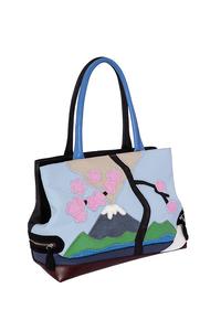 Фото 1 Кожаная женская сумка №5 Фудзияма, чёрная в интернет-магазине Unique U дизайнера Елены Юдкевич