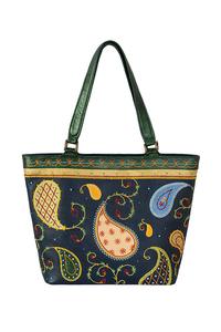 Фото 1 Кожаная женская сумка №46 Пейсли, синяя в интернет-магазине Unique U дизайнера Елены Юдкевич