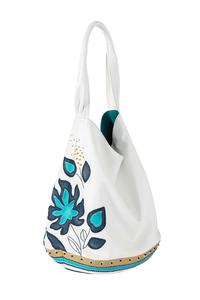 Фото 1 Кожаная сумка №26, Игра теней белая в Интернет-магазине UNIQUE U