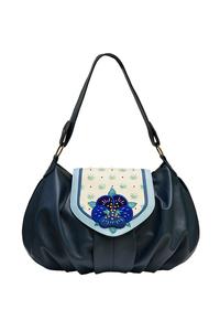 Фото 1 Кожаная сумка №38, Анютины глазки, синяя в интернет-магазине Unique U