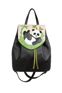 Фото 1 Кожаный женский рюкзак №47, Панда, чёрный в интернет-магазине Unique U