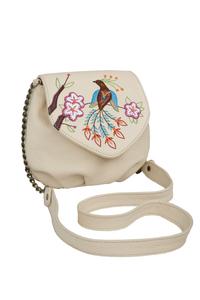 Фото 1 Кожаная женская сумка №31, Японская птичка, беж в интернет-магазине Unique U