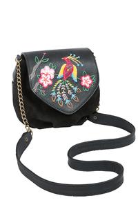 Фото 1 Кожаная женская сумка №31, Японская птичка, чёрная в интернет-магазине Unique U