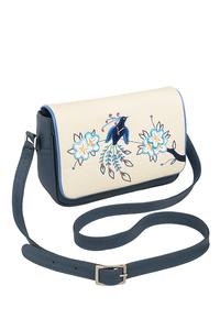 Кожаная женская сумка №48 Японская птичка синяя в интернет-магазине Unique U дизайнера Елены Юдкевич Фото 1