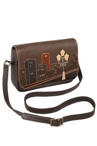 Кожаная женская сумка №48 Ночной город коричневый  в интернет-магазине Unique U дизайнера Елены Юдкевич Фото 1