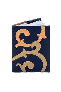 Кожаная обложка на паспорт темно-синяя №2, барокко