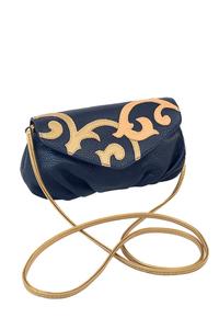 КОЖАНАЯ женская СУМКА-клатч синяя №34, Барокко