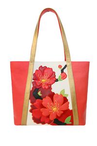 Кожаная женская сумка красная №42, ИМПЕРАТОРСКАЯ САКУРА