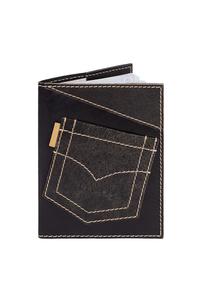 Кожаная обложка  на паспорт №1, Джинсовый карман
