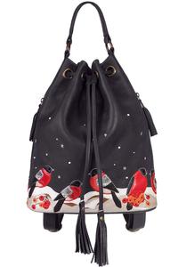 кожаный женский рюкзак-сумка темно-серый м.49