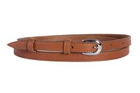 женский кожаный пояс светло-коричневый 1,5см