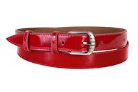 кожаный женский пояс красный 2,5см