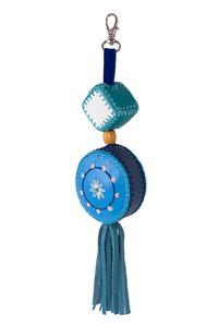 Кожаный этно-брелок №2 голубой