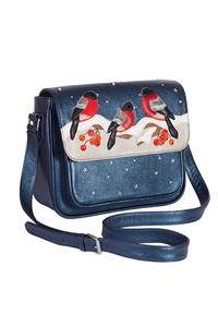 Кожаная женская сумка синяя №54