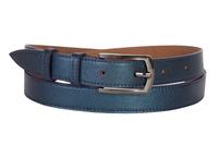 Кожаный женский пояс синий металлик  2см