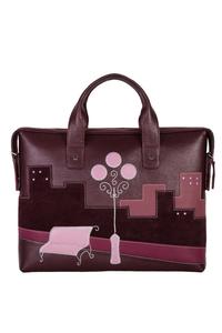 Кожаный женский портфель вишневый №50, НОЧНОЙ ГОРОД