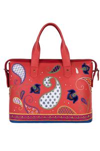 Кожаный женский портфель красный №50