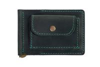 кожаный зажим для денег м.1 зеленый