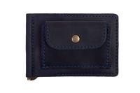кожаный зажим для денег м.1 темно-синий