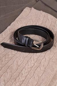 Кожаный женский/мужской пояс черный 2.5 см