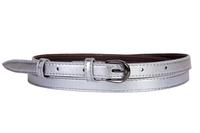 Женский кожаный пояс серебряный 1.5см