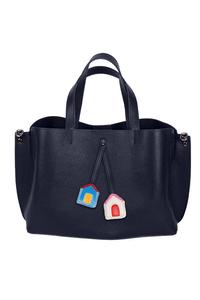 Кожаная женская сумка м.58 темно-синяя с комплектом подвесок