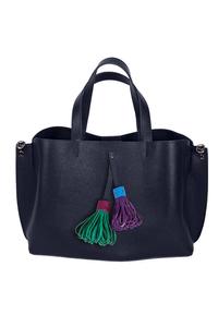 Кожаная женская сумка м.58 синяя с комплектом подвесок
