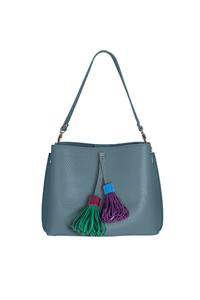 Кожаная женская сумка м.59 голубая с комплектом подвесок