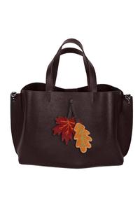 Кожаная женская сумка м.58 коричневая с комплектом подвесок