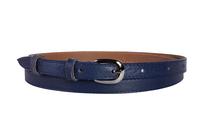 кожаный женский пояс синий 1,5см