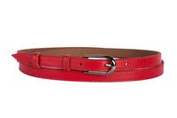 женский кожаный пояс красный 1,5см