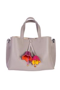 кожаная женская сумка м.58 беж с комплектом подвесок