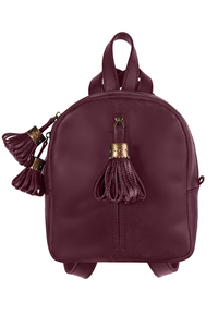 Рюкзак кожаный м.62 марсала с кисточками