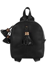 Рюкзак кожаный м.62 черный с кисточками