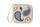 Кожаное портмоне кремово-голубое, Пейсли