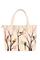 Кожаная женская сумка бежевая №42, Японские птички