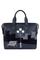 Кожаный женский портфель синий №50, Ночной город