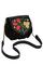 Кожаная с замшем женская сумка чёрная №31, Хохлома