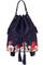 кожаный женский рюкзак-сумка темно-синий м.49