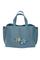 Кожаная женская сумка м.58 голубая с комплектом подвесок