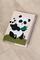кожаная обложка на блокнот «Панды» кремовая